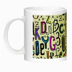 Colorful Retro Style Letters Numbers Stars Night Luminous Mugs by EDDArt