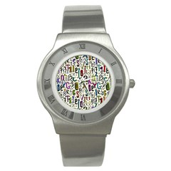 Colorful Retro Style Letters Numbers Stars Stainless Steel Watch by EDDArt
