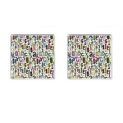 Colorful Retro Style Letters Numbers Stars Cufflinks (square) by EDDArt