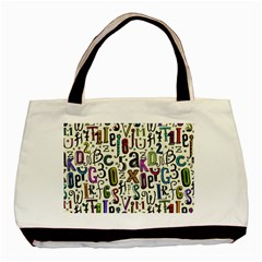 Colorful Retro Style Letters Numbers Stars Basic Tote Bag by EDDArt