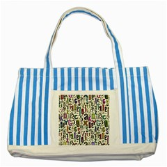 Colorful Retro Style Letters Numbers Stars Striped Blue Tote Bag by EDDArt