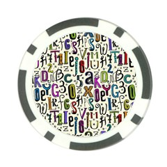 Colorful Retro Style Letters Numbers Stars Poker Chip Card Guard by EDDArt