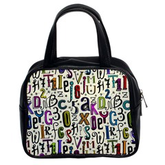 Colorful Retro Style Letters Numbers Stars Classic Handbags (2 Sides) by EDDArt