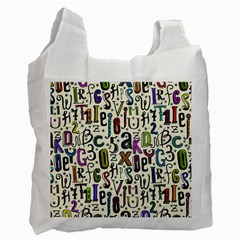 Colorful Retro Style Letters Numbers Stars Recycle Bag (one Side) by EDDArt