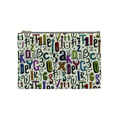 Colorful Retro Style Letters Numbers Stars Cosmetic Bag (medium)  by EDDArt