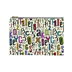 Colorful Retro Style Letters Numbers Stars Cosmetic Bag (large)  by EDDArt