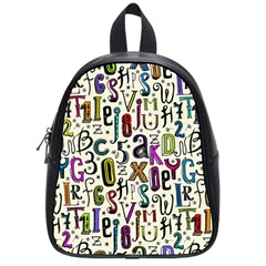Colorful Retro Style Letters Numbers Stars School Bags (small)  by EDDArt