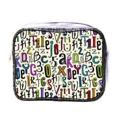 Colorful Retro Style Letters Numbers Stars Mini Toiletries Bags by EDDArt