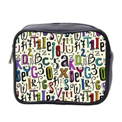 Colorful Retro Style Letters Numbers Stars Mini Toiletries Bag 2 Side by EDDArt