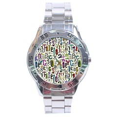 Colorful Retro Style Letters Numbers Stars Stainless Steel Analogue Watch by EDDArt
