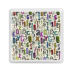 Colorful Retro Style Letters Numbers Stars Memory Card Reader (square)  by EDDArt