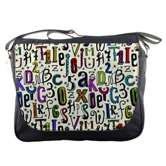 Colorful Retro Style Letters Numbers Stars Messenger Bags by EDDArt