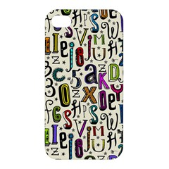 Colorful Retro Style Letters Numbers Stars Apple Iphone 4/4s Premium Hardshell Case by EDDArt