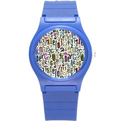Colorful Retro Style Letters Numbers Stars Round Plastic Sport Watch (s) by EDDArt
