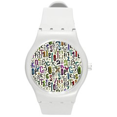 Colorful Retro Style Letters Numbers Stars Round Plastic Sport Watch (m) by EDDArt