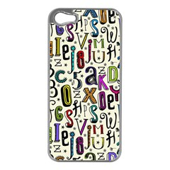 Colorful Retro Style Letters Numbers Stars Apple Iphone 5 Case (silver) by EDDArt