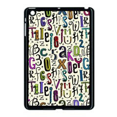 Colorful Retro Style Letters Numbers Stars Apple Ipad Mini Case (black) by EDDArt