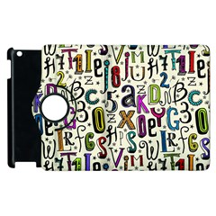 Colorful Retro Style Letters Numbers Stars Apple Ipad 3/4 Flip 360 Case by EDDArt
