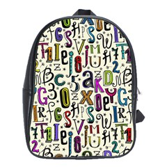 Colorful Retro Style Letters Numbers Stars School Bags (xl)  by EDDArt