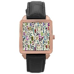 Colorful Retro Style Letters Numbers Stars Rose Gold Leather Watch  by EDDArt