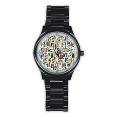 Colorful Retro Style Letters Numbers Stars Stainless Steel Round Watch by EDDArt