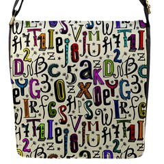 Colorful Retro Style Letters Numbers Stars Flap Messenger Bag (s) by EDDArt