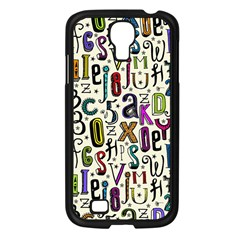 Colorful Retro Style Letters Numbers Stars Samsung Galaxy S4 I9500/ I9505 Case (black) by EDDArt