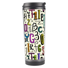 Colorful Retro Style Letters Numbers Stars Travel Tumbler by EDDArt