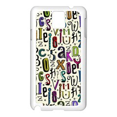 Colorful Retro Style Letters Numbers Stars Samsung Galaxy Note 3 N9005 Case (white) by EDDArt