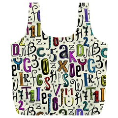 Colorful Retro Style Letters Numbers Stars Full Print Recycle Bags (l)  by EDDArt