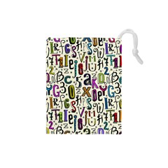 Colorful Retro Style Letters Numbers Stars Drawstring Pouches (small)  by EDDArt