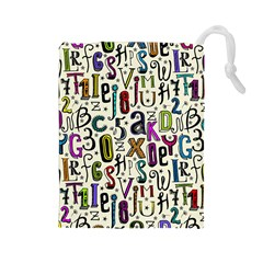Colorful Retro Style Letters Numbers Stars Drawstring Pouches (large)  by EDDArt