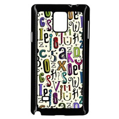 Colorful Retro Style Letters Numbers Stars Samsung Galaxy Note 4 Case (black) by EDDArt