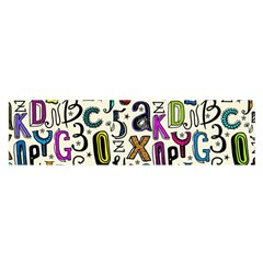 Colorful Retro Style Letters Numbers Stars Satin Scarf (oblong) by EDDArt