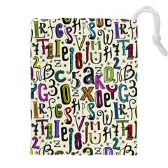 Colorful Retro Style Letters Numbers Stars Drawstring Pouches (xxl) by EDDArt