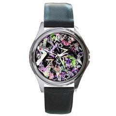 Chaos With Letters Black Multicolored Round Metal Watch by EDDArt