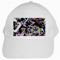 Chaos With Letters Black Multicolored White Cap by EDDArt