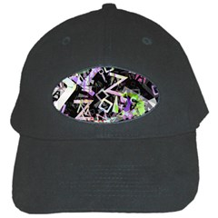Chaos With Letters Black Multicolored Black Cap by EDDArt