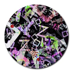 Chaos With Letters Black Multicolored Round Mousepads by EDDArt