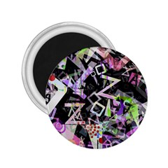 Chaos With Letters Black Multicolored 2 25  Magnets by EDDArt