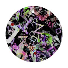 Chaos With Letters Black Multicolored Ornament (round) by EDDArt