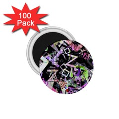 Chaos With Letters Black Multicolored 1 75  Magnets (100 Pack)  by EDDArt