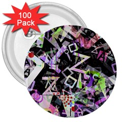 Chaos With Letters Black Multicolored 3  Buttons (100 Pack)  by EDDArt