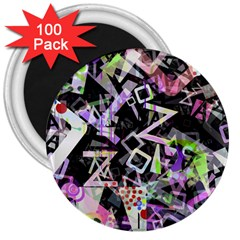 Chaos With Letters Black Multicolored 3  Magnets (100 Pack) by EDDArt