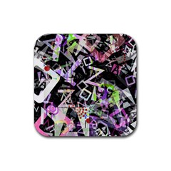 Chaos With Letters Black Multicolored Rubber Coaster (square)  by EDDArt