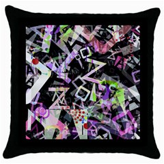 Chaos With Letters Black Multicolored Throw Pillow Case (black) by EDDArt