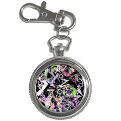 Chaos With Letters Black Multicolored Key Chain Watches by EDDArt