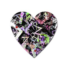 Chaos With Letters Black Multicolored Heart Magnet by EDDArt