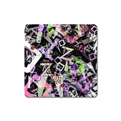 Chaos With Letters Black Multicolored Square Magnet by EDDArt