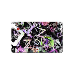 Chaos With Letters Black Multicolored Magnet (name Card) by EDDArt